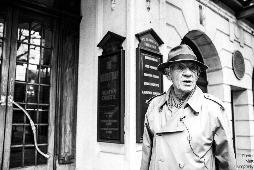 Sir Ian McKellen outside St Martin's Theatre, home to the West End's longest running play